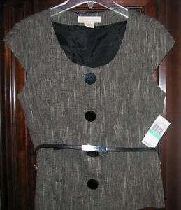 129 NWT Womens MICHAEL KORS Black/Gray Linen Vest 10