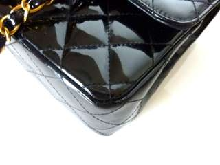 Auth CHANEL Black Quilted Patent Medium Classic 2.55 Double Flap Bag