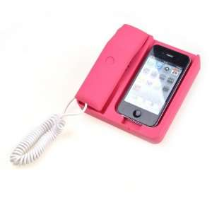 Pink Telephone Stand Handset Noise Reduction Feature For