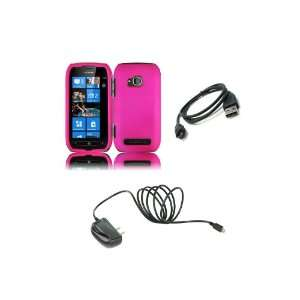 Combo Pack   Hot Pink Hard Shield Case Cover + Wall Charger + Micro