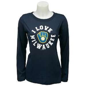 Milwaukee Brewers Womens Long Sleeve I Love Team T Shirt