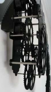 Modern Retro Vintage Mechanical Large Wall Gear Clock BLACK