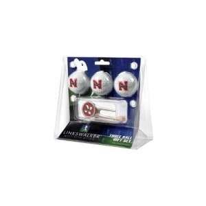 Nebraska Huskers NCAA 3 Ball Gift Pack w/ Cap Tool Sports
