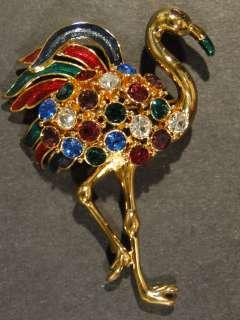 Fabulous Trifari Stone Set Stork Costume Brooch Pin