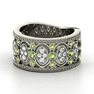 Renaissance Band, 14K White Gold Ring with Green Tourmaline & White