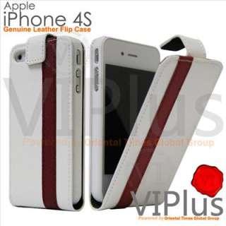 Genuine Leather Flip Case Slim Cover Holster Apple iPhone 4 4S White
