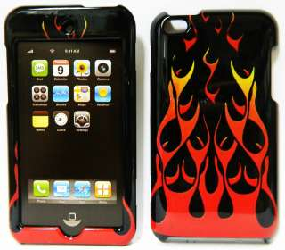 Apple iPod Touch 4th GEN Hard Cover Case BLACK RED FIRE FLAME