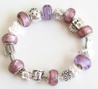 Purple Foil Dragonfly Love European Charm Bracelet