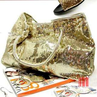 Sequined black silver gold WEDDING EVENING PARTY Clutch Tote Handbag
