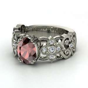 Mantilla Ring, Oval Red Garnet Palladium Ring with Diamond
