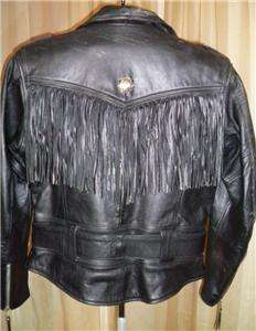 Harley Davidson Heavy Duty Leather Jacket Conchos Fringe S/M
