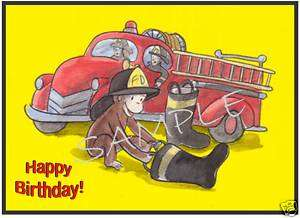 Edible Cake Image   Curious George Firefighter   Rec