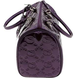 HELLO KITTY CITY BAG PURPLE EMBOSSED SHINY PATENT PURSE HANDBAG BY