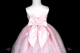 PINK SATIN ORGANZA FLOWER GIRL DRESS 2 4 6 8 10