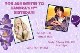 Justin Bieber Custom Birthday Invitation w/envelopes