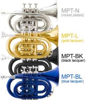 Mendini Mini/Pocket Trumpet ~ Black Silver Gold Blue
