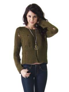 NEW Women Casual Long Sleeve Shred Detail Sweater Top green sz Olive