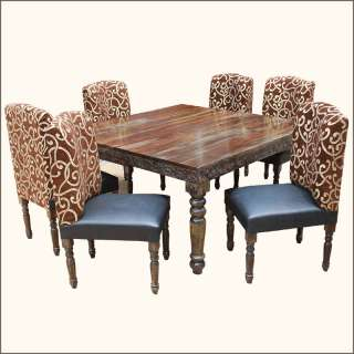 7pc Unique Solid Wood Hand Carved Dining Room Table & Chairs Set