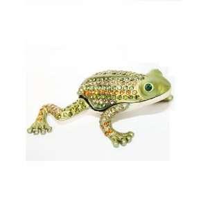 Elegant Bejeweled Green Metal Frog Pill Box: Pill Box