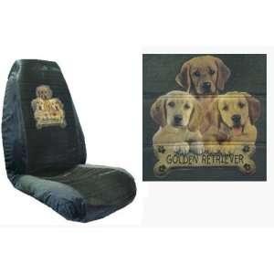 Car Truck SUV Golden Retriever Trio with Bone Dog Print Seat Covers 2