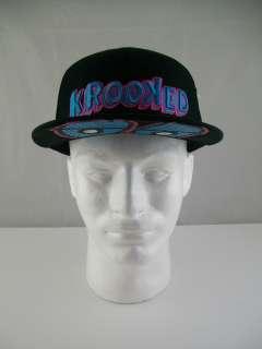 New KROOKED TRIP EYES Flexfit L/XL Premium Black Cotton Skate Hat Cap