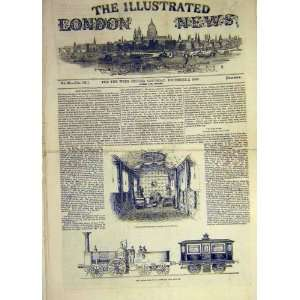 1843 Royal Railway Carriage Engine Sketch Print