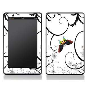 White Flower Butterfly Design Kindle Fire Skin Sticker Cover Art Decal