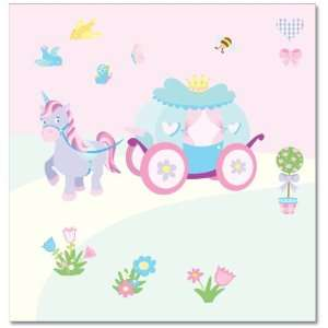 Princess Childrens Wall Decals, Carriage And Unicorn Scene Baby