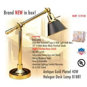 American Lighting 8188T Antique Gold Plated 40W Halogen Desk