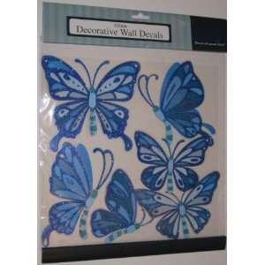 Blue Butterflies Glitter Decorative Wall Decals