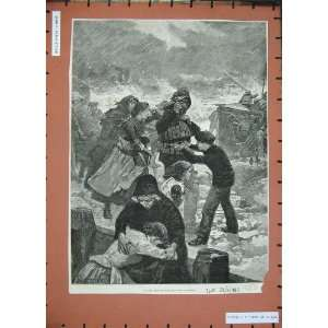 1885 Life Boat Rescue Family Stormy Sea Forestier Art