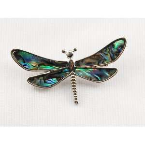 Miniature Dragonfly Silver Tone Shell Costume Pin Brooch Jewelry