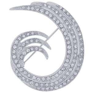 Clear Crystal Silver Swirl pins Austrian Crystal Brooch pin Jewelry