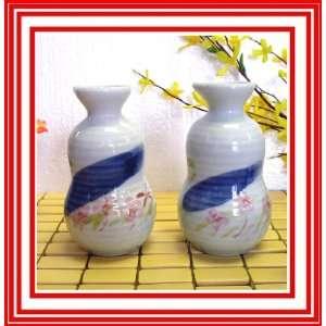 Pc Japanese Porcelain Sake Bottles with Pink Cherry Blossom Design