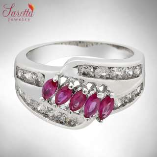 Lady Fashion Jewelry 18k GP Round Marquise Cut Red Ruby Sapphire Ring