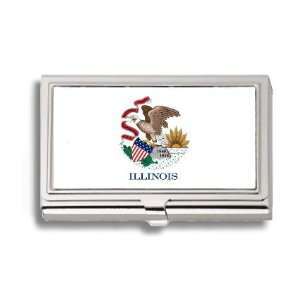 Illinois State Flag Business Card Holder Metal Case