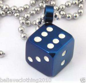 STEEL BLUE DICE NECKLACE CHAIN CHARM USA SELLER WOW BC 3002
