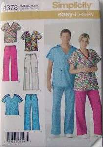 Simplicity Pattern 4378 Unisex Scrubs Uniform Top Pants Missses Mens