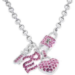 Rocawear Pink Austrian Crystal Rw Key To Your Heart Chain