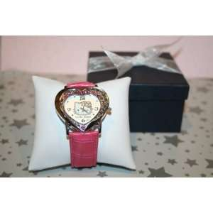 Hello Kitty Heart Shaped Quartz Wrist Watch in Hot Pink. Comes in Dark