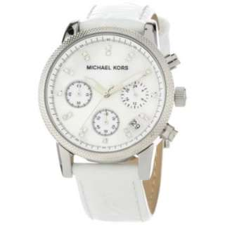 Michael Kors Womens MK5049 White Leather Round Chronograph Watch