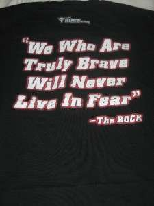 WWF WWE Wrestling The Rock Just Bring It 9/11 Patriotic Logo Mens