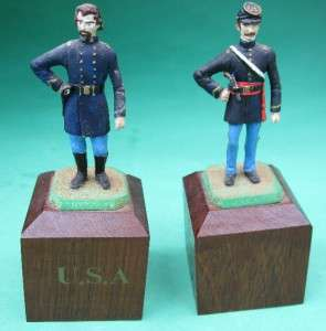 AMERICAN CIVIL WAR COMMEMORATIVE CHESS SET LEAD PIECES HAND PAINTED
