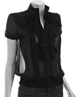 Romeo & Juliet Couture black chiffon pleated rosette ruffle blouse