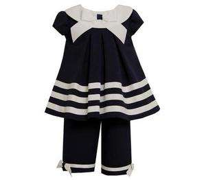 Bonnie Jean Girls Spring Summer Navy / White Nautical Capri Outfit Set
