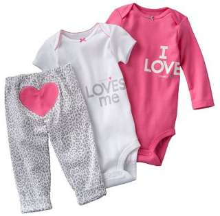 NWT Carters Baby Girl Clothes Set Outfit Pink White Print Heart 3 6 9