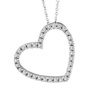 Diamond Open Heart Pendant Necklace 14k White (0.40ctw