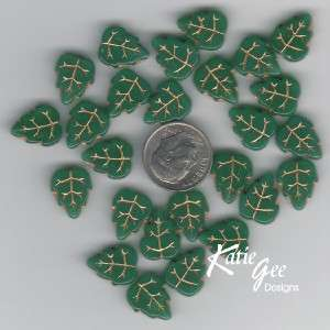 Czech Pressed Glass Leaf Beads Green / Gold Inlay 10/12