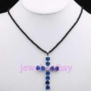 Blue Facet Heart Crystal Cross String Pendant Necklace
