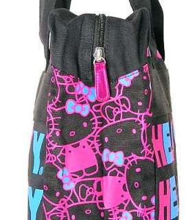 HELLO KITTY~ BLACK PINK TOKYO ZIP MESSENGER BAG TOTE
